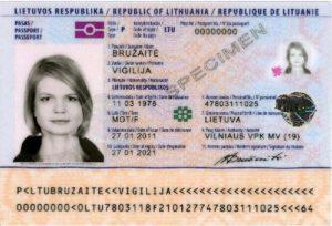 Образец литовского паспорта
