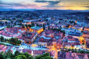 Столица Словении Любляна с высоты птичьего полета