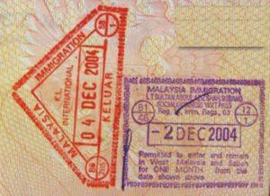 Такой штам вам поставят в паспорт в Малайзии.