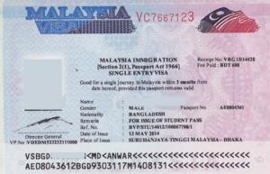 Туристическая виза в Малайзию.