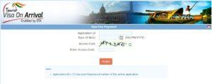 Шаг 6. При оплате «Pay later» нужно перейти на страницу https://indianvisaonline.gov.in/visa/tvoa.html, после «Pay Visa Fees», загрузится вот эта страница. Введите Application Id: вашей анкеты, дату рождения и на кого произведено оформление. Согласившись с условиями, нажать «pay now».