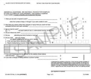 Пример формы-заявления на получение пособия в штате Калифорния