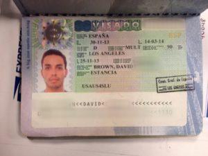 Образец испанской рабочей визы, категория может быть другой (зависит от способа трудоустройства)