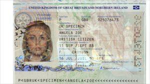 Паспорт гражданина Соединенного Королевства (образец)