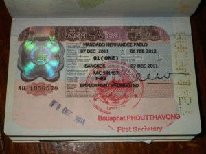 Так выглядит виза в Лаос