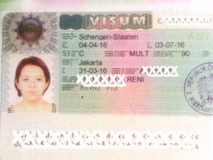 Пример визы в Словению, полученной в 2016 году