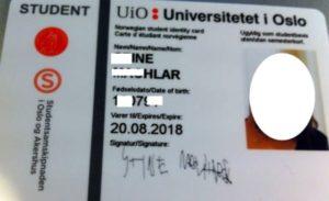 Норвежский студенческий билет.