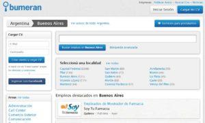 Популярный аргентинский сайт поиска работы www.bumeran.com.ar