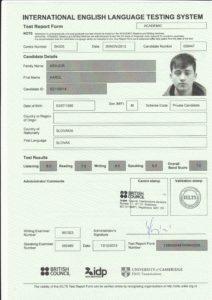 Сертификат о прохождении теста IELTS на знание английского для получения ВНЖ в Новой Зеландии