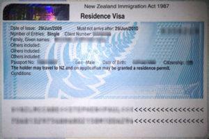 Резидентская виза в Новую Зеландию (образец)