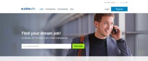 Популярный швейцарский сайт поиска работы www.jobs.ch/en/