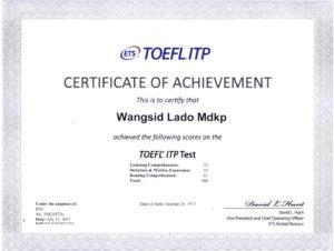 Сертификат об успешной сдаче экзамена TOEFL (образец)