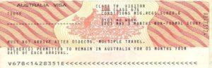 Австралийская студенческая виза (образец)