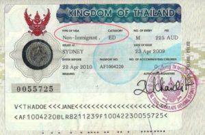 Студенческая виза в Таиланд (образец)