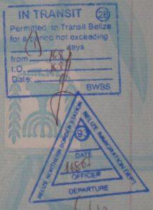 Так выглядит транзитный штамп Белиза в паспорте