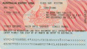 Австралийская туристическая виза (образец)