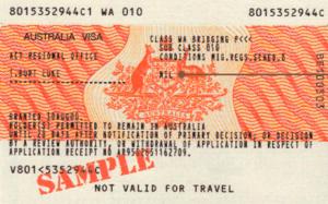 Образец австралийской визы
