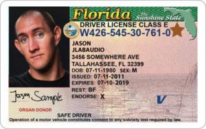 Водительское удостоверение штата Флорида (образец)