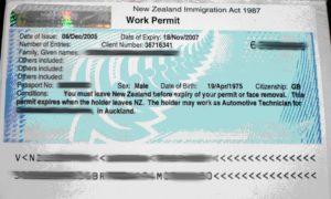 Новозеландское разрешение на работу (work permit)