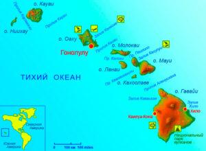 Карта Гавайи.