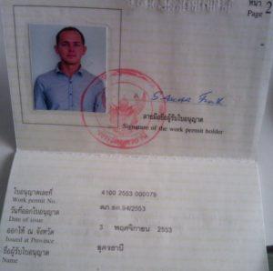 Work permit для работы в Таиланде.