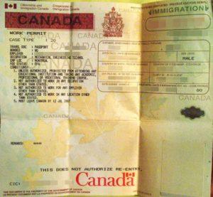 Work Permit - разрешение на работу и проживание в Канаде.