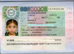 Виза для ребенка не достигшего совершеннолетия.