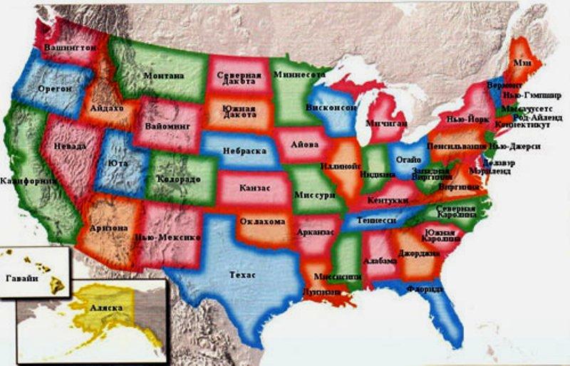 Карта США (можно увеличить).