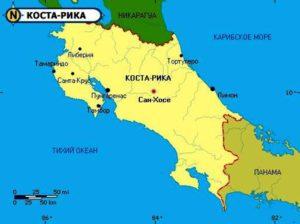 Карта Коста-Рико.