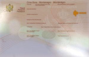Паспорт гражданина Черногории (образец)