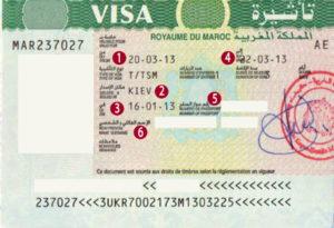 Виза в Марокко (образец). Необходима для украинцев, белорусов, казахстанцев. Россиянам для краткосрочных поездок не нужна.