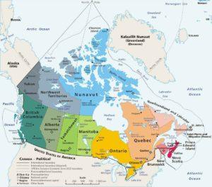 Территориальное устройство Канады. Кликните для увеличения.