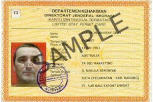 Индонезийский КИТАС (образец)
