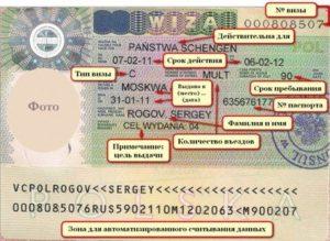 Расшифровка надписей и обозначений на визе
