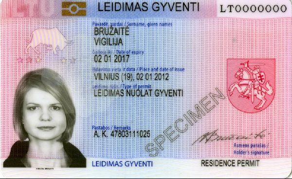 Так выглядит карточка ВНЖ в большинстве стран Евросоюза (в данном случае это вид на жительство в Литве)