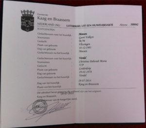 Нидерландское свидетельство о браке