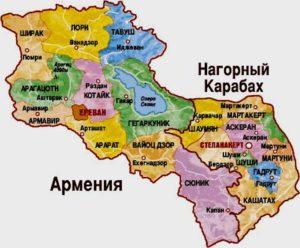 Карта Армении.
