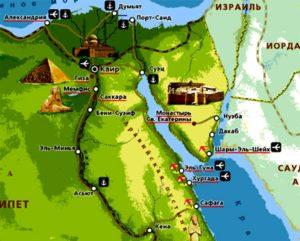 Карта Синайского полуострова с курортами.