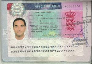 Рабочая виза в Данию (образец)