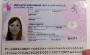 Паспорт гражданина Люксембурга (образец)