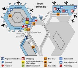 Схема Терминалов аэропорта Берлин Тегель.