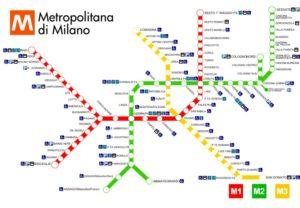 Подробная карта метрополитена в Милане.