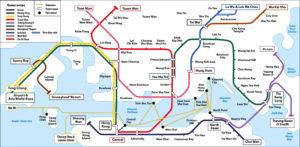 Схема метро Гонконга.