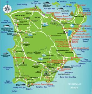 Карта Самуи.