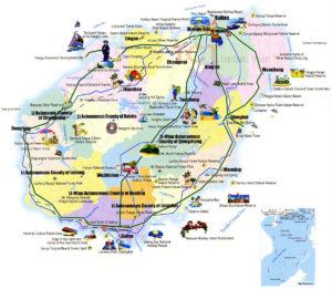 Карта-схема острова Хайнань. Кликните для увеличения.