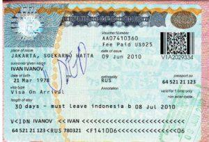 VOA (Visa on arrival) - туристическая виза на острова Бали сроком на 30 дней, данный тип визы без продления.