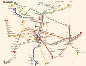 Подробная карта метрополитена (подземки) Брюсселя.