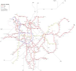 Схема маршрутов трамваев в Брюсселе.