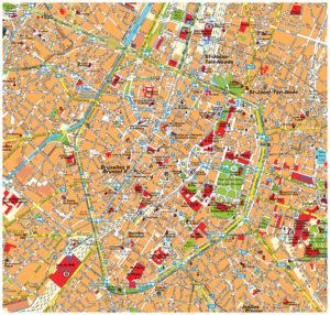 Туристическая карта - центр Брюсселя.