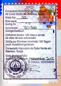 Виза в Кабо-Верде (образец)